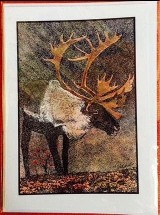 "CARIBOU - 5 x 7"" Art Card by Nina - GIN ONLY"