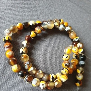[GIN FOR FREE SHIPPING] Natural Stone Orange Fire Agates Beads 15in