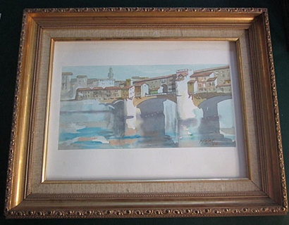 FLORENCE ITALY BRIDGE WATER COLOR WITH FRAME & MAT in Cool Blues and Browns VERY BEAUTIFUL!!!!!