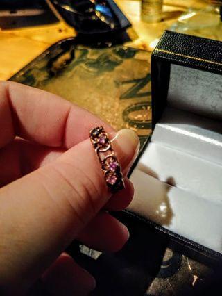 10K 4 Stones Heart Design Ring