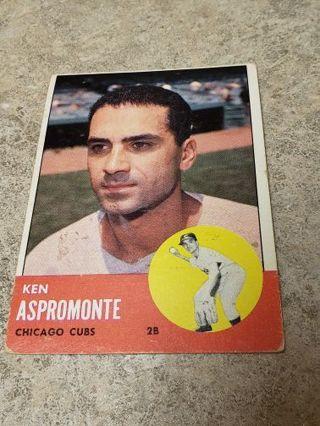 1963 Ken Aspromonte Chicago Cubs vintage baseball card