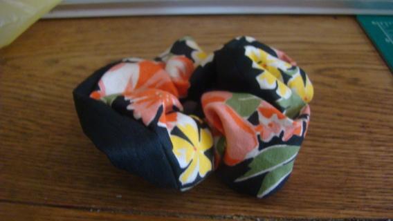 black floral hand made scrunchie