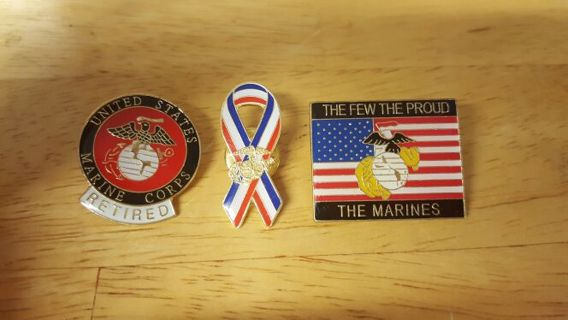 (3) Marine Corps Hat Pins NEW