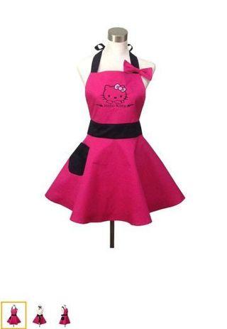 ♥️ HELLO KITTY PINK RETRO VINTAGE APRON ABSOLUTELY BEAUTIFUL ♥️