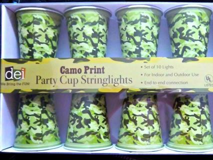 NEW 8.5 ft 10 Light Party Cup String Lights CAMO PRINT Indoor/Outdoor ~ GIN BONUS Gets 2 SETS!!