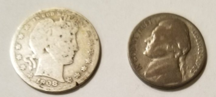 1908-O Barber Quarter and 1943-S War Nickel - Silver Coins