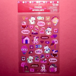 1 New Pack of Cute Holographic Love Puppies and Kitties Stickers.
