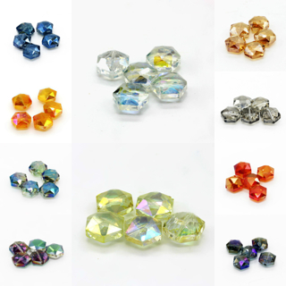 20 PCs 15mm Faceted Hexagon Glass Crystal Charm Loose Spacer Beads