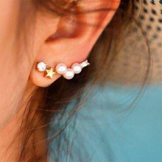 Women's Simple Jewelry Pearl Star Crystal Geometric Gold Stud Earrings Set Bohemian Retro