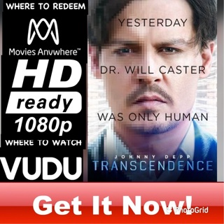 TRANSCENDENCE  HD MOVIES ANYWHERE OR VUDU CODE ONLY  REDEEM NOW