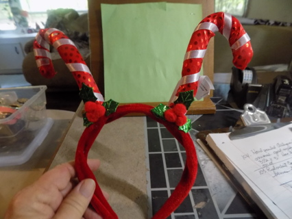 REd velvet candy cane & holly leaves & berries head band