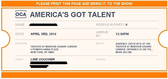 Free: (4)On-Camera-Audiences Voucher for America's Got Talent ...