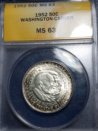 ANACS 1952 Washington Carver Half Dollar MS63