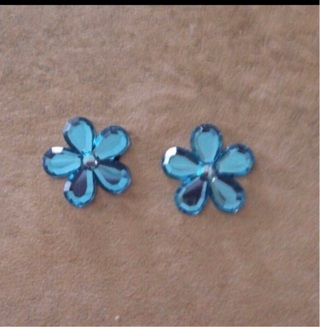Blue flowers flat backs