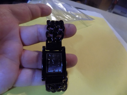 Black thick flat chain band watch NY & Company rectangle face
