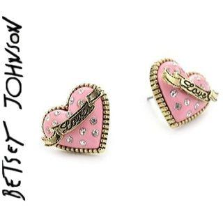 """Betsey Johnson """"Betsey's Dollhouse"""" Pink Stud Heart Earrings"""