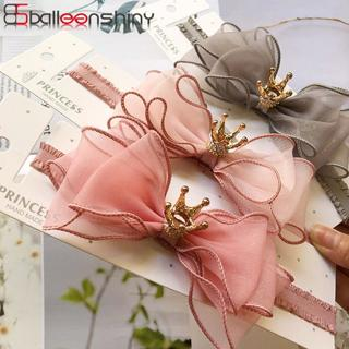 BalleenShiny Baby Girls Bowknot Crown Headband Lace Elastic Princess Hair Band Fashion New Style C