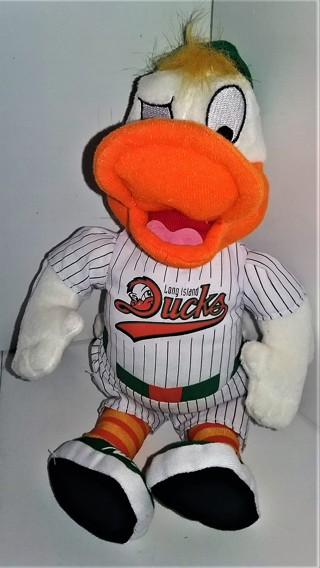 "Minor League Long Island Ducks stuffed mascot ""Quacker Jack"" - 8"" tall (seated) - VG condition"