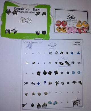 32 Pairs of Earring Studs with Backs