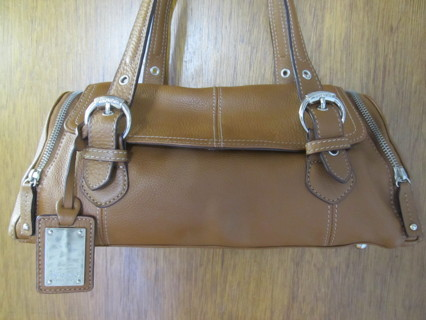 Tignanello Brown Leather Barrel Satchel Shoulder Bag Mint