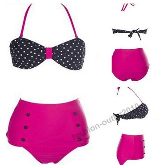 New HIGH WAISTED Bikini Ladies Retro Bikini Swimwear BLACK/PINK OR RED/BLUE M, L OR XL FREE SHIP