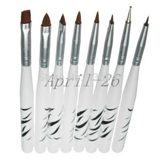 Set 8Pcs UV Gel Nail Art Brush 8 Design Dotting Painting Drawing Liner Fin Polish Pen Tools Tips M