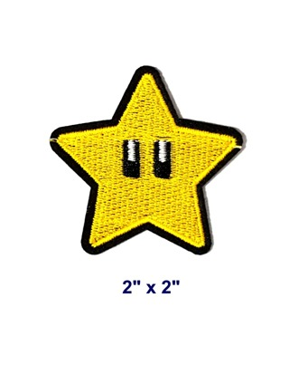 NEW Super Star Starman Nintendo Embroidered Iron-On Patch