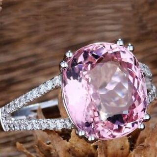 Fashion Elegant Silver Women Crystal For Wedding Jewelry Pink Rings Tourmaline