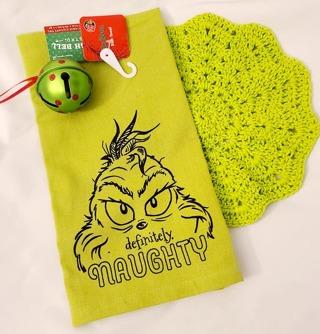 "Crochet 2 - 9"" wash/dish towels+1 GRINCH DISH TOWEL 1 grinch ornament"