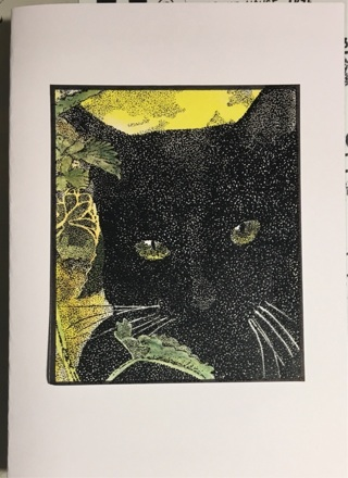 "BLACK CAT - 5 x 7"" Art Card by artist Nina Struthers - GIN ONLY"