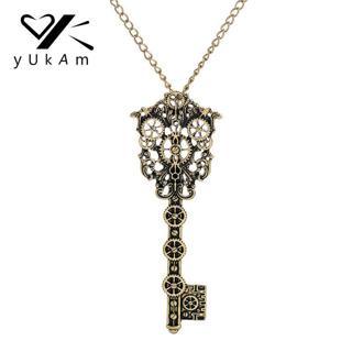 YUKAM Fashion Retro Steampunk Necklace Key Pendant Chains for Women Gears Choker Necklaces Gothic
