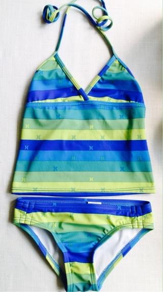 Girls Sz 5 'Hurley' brand 2 Pc TANKINI Striped Blue Yellow Green FREE SHIPPING USA