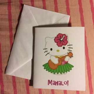 Sanrio Hello Kitty Blank Note Card w/Envelope ~ MAHALO! ~ NEW!