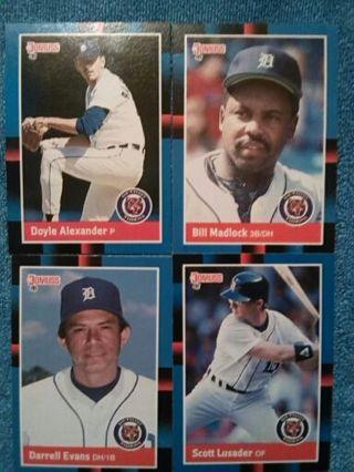 4 card lot 1987 DETROIT TIGERS