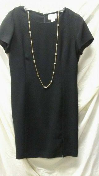 navy classic dress slit ann taylor loft Sz 12 hidden zipper full lining vintage