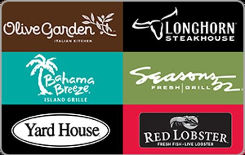 25$ Restaurant gift card Olive garden red lobster longhorn steakhouse