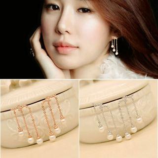 Cute Korean Style Pearl Dangle Ear Stud Women Elegant Ear Stud Earring
