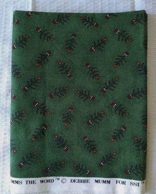 DEBBIE MUMM ONE YARD COTTON CHRISTMAS TREE FABRIC HUNTER GREEN QUILTING SEWING CRAFTS