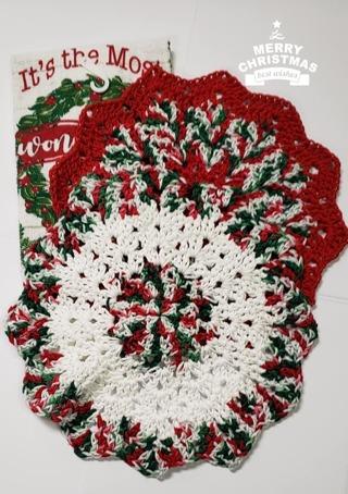 "Crochet 2 - 9"" Dish Cloth/Wash Cloths/1 Christmas Dish Towel*LQQK*"