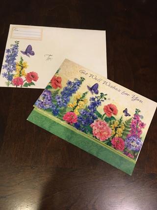 Vintage unused Get well wishes card with envelope