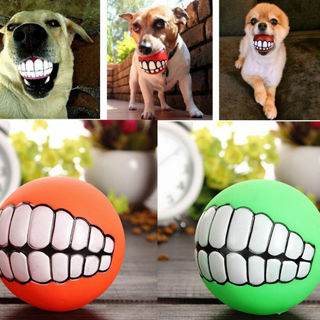 Ball Teeth Silicon Play Toy Chew Squeaker Squeaky Sound For Dogs
