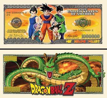 ☆ DRAGON BALL Z Million Dollar Collectible Bill- NEW