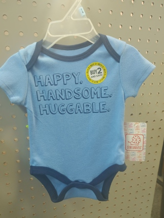 "NWT! Swiggles Baby Boys Onesie ""HAPPY....HANDSOME....HUGGABLE"" Size: 3-6Mths"