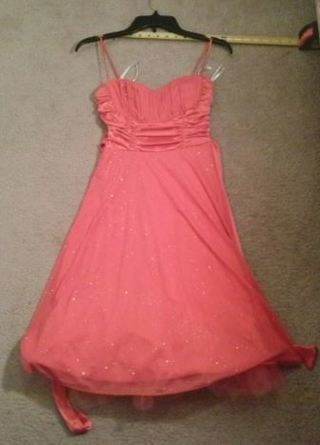 WOMEN'S Gorgeous Sparkly Frilly Ruby Pink Dress (SMALL) FREE SHIPPING