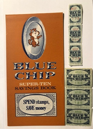 Vintage Unused Blue Chip (stamps) Super-Ten Savings Book with a few stamps thrown in, too!