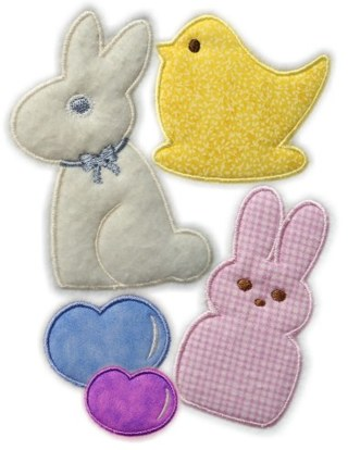 Free 4x4 Set Easter Peep Bunny Chocolate Chick Jellybeans Applique