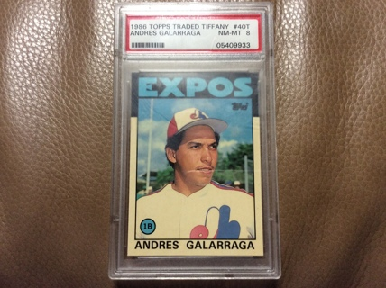 GRADED ANDRES GALARRAGA ROOKIE 1986 Topps Traded Tiffany Baseball Card MONTREAL EXPOS RC PSA 8 NM-MT