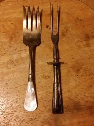 2-Antique Sterling Silver Serving Forks