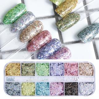 1 Set Broken Glass Irregular Glitter Nail Paillette Hologrphic Mix Color Design Shiny Flakes Sequi