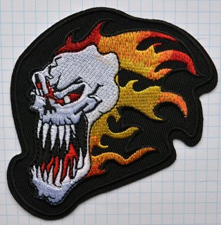 The Fire Skull Cloth Iron On Patches